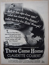 Three Came Home (1950) - Claudette Colbert -  Vintage Trade Ad